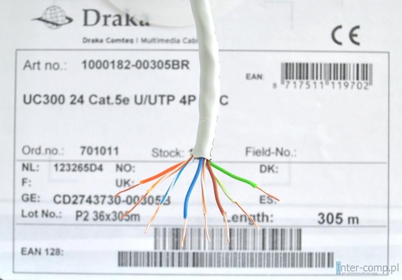 Kabel UTP Kat5e drut Draka
