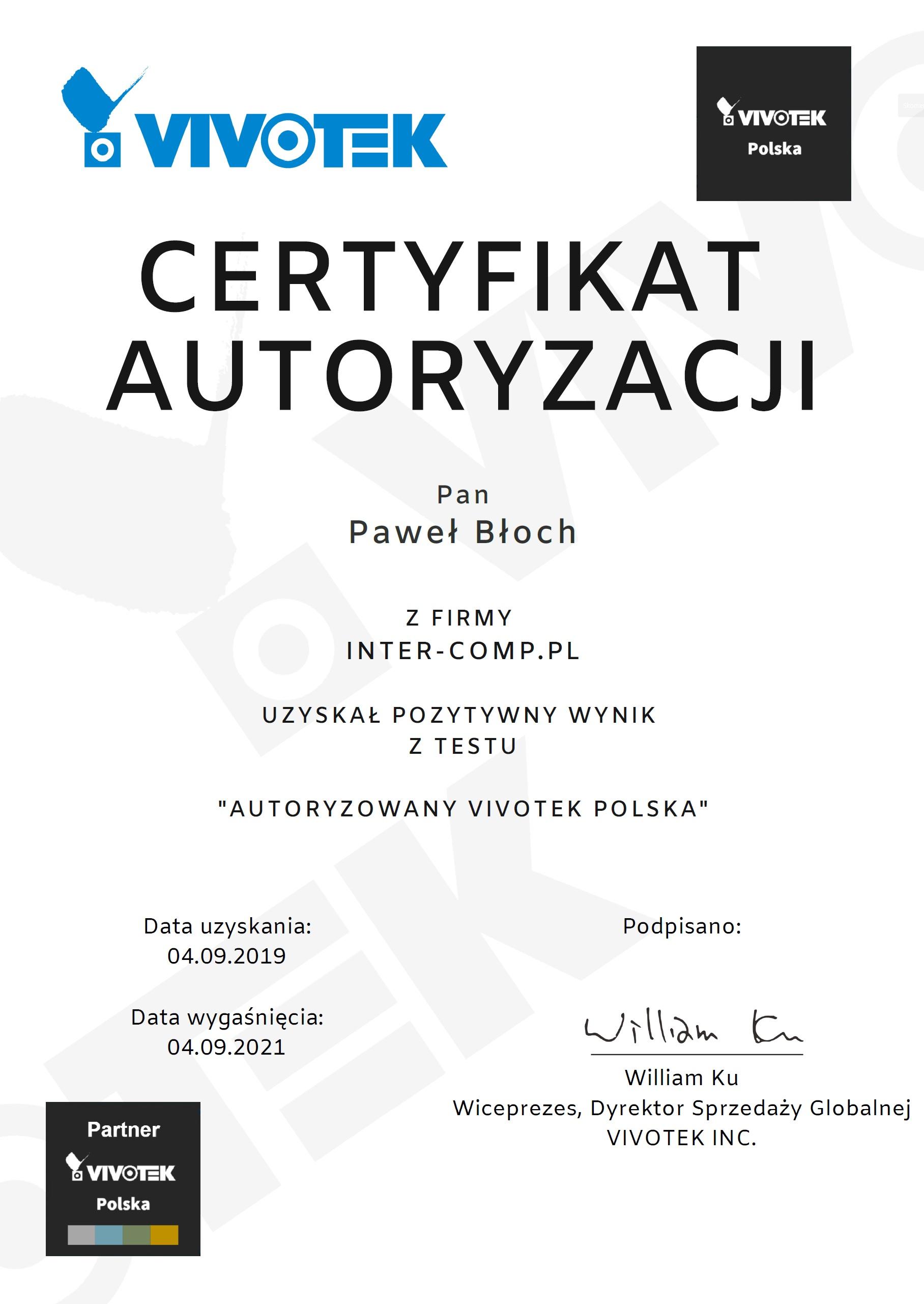Vivotek certyfikat