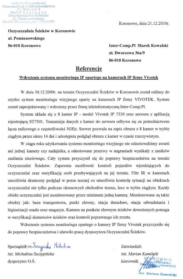 Oczszczalnia ścieków w Koronowie - referencje