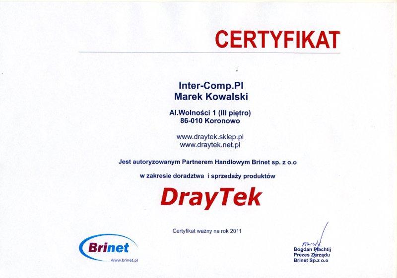DrayTek - certyfikat