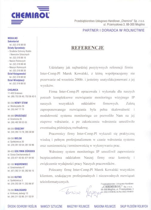 Chemirol - referencje