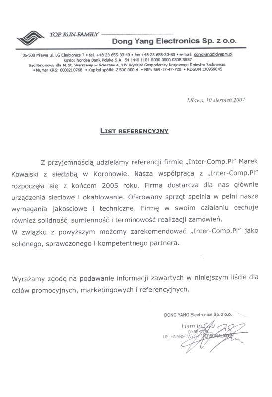 DONG YANG Mława - referencje