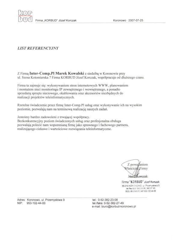 Korbud Koronowo - referencje