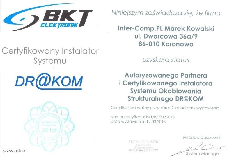 BKT Elektronik - Certyfikat