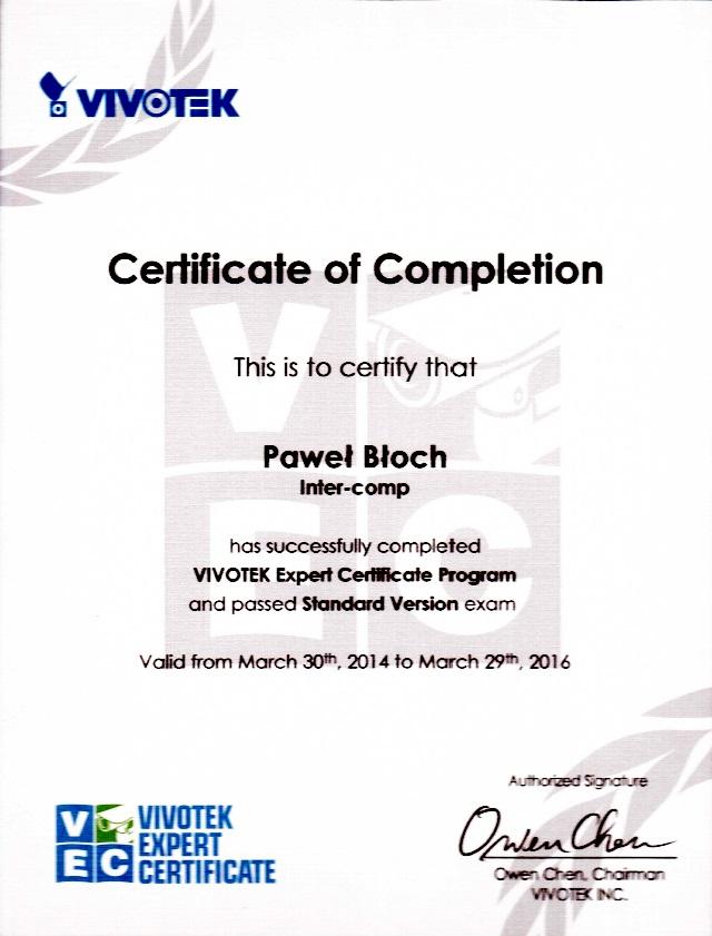 Certyfikat Paweł Błoch VEC