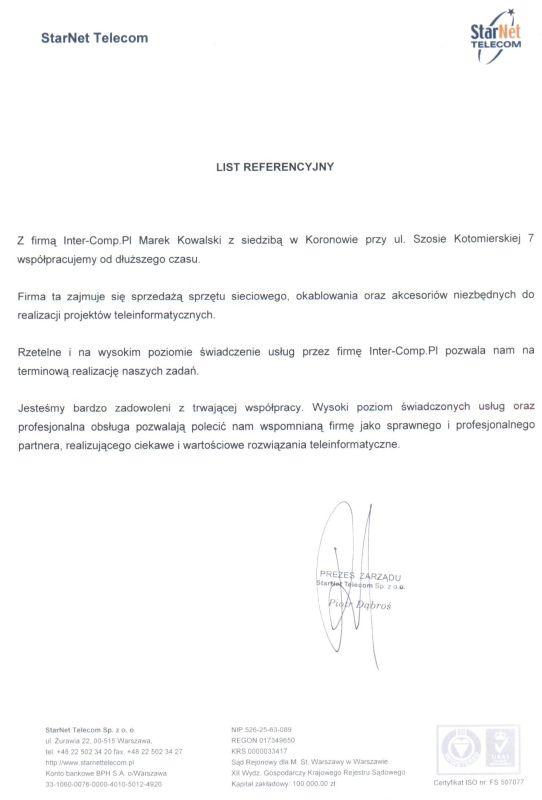 StarNet Telecom - referencje