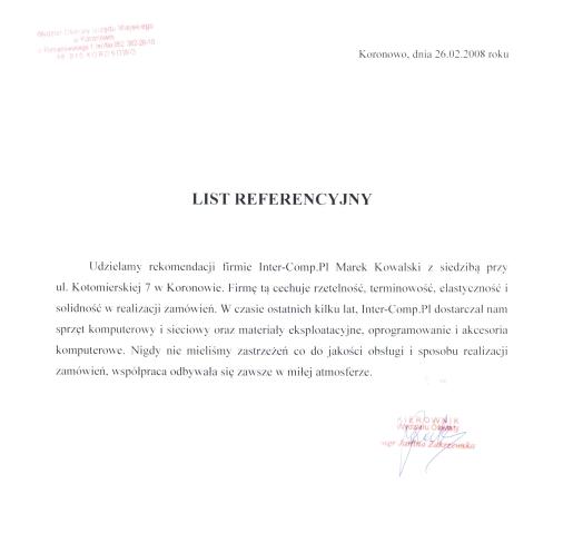 Wydział Oświaty Koronowo - referencje